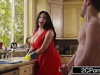 Sybil Stallone horny housewife cleans house and gets huge dick